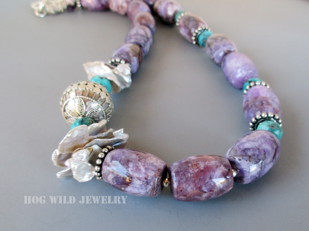 amethyst barrel turquoise necklace C1